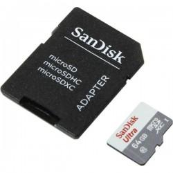 Sandisk Ultra MicroSDXC 64GB UHS-I + SD Adapter, 64 GB, MicroSDXC, Clase 10, UHS-I, 80 MB/s, Gris, Blanco