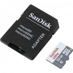 Sandisk Ultra MicroSDHC 32GB UHS-I + SD Adapter, 32 GB, MicroSDHC, Clase 10, UHS-I, 80 MB/s, Gris, Blanco
